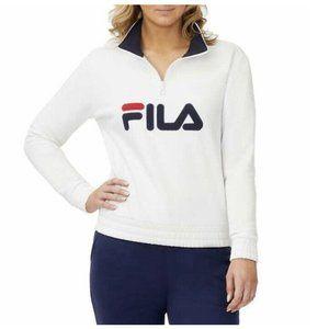 FILA Logo Quarter Zip Pullover Sweatshirt - White